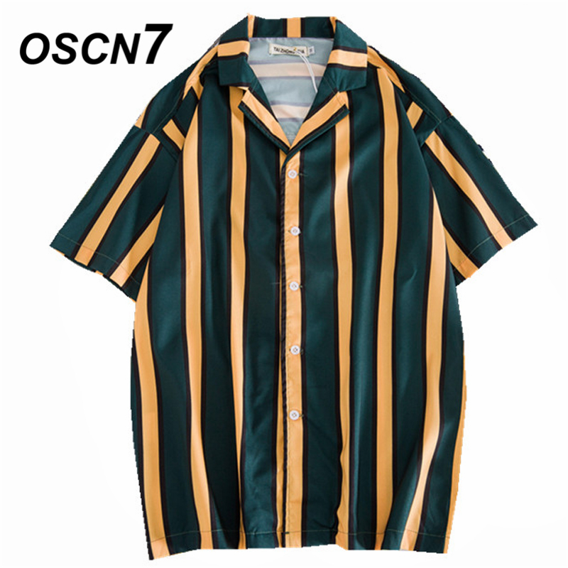 Oscn7 2019 Casual Printed Short Sleeve Shirt Men Street 2019 Hawaii Beach Women Fashion Short Sleeve Shirts Harujuku Mens 405
