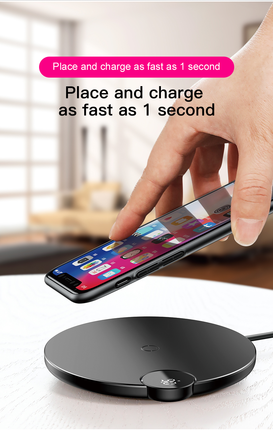 Baseus LED Qi Wireless Charger For iPhone Xs Max X 8 10W Fast Wirless Wireless Charging Pad For Samsung S10 S9 Xiaomi MI 9 MIX 3 5