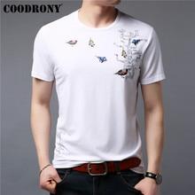 COODRONY T Shirt Men 2019 Summer New Tops Streetwear Casual Short Sleeve T-Shirt Birds Pattern O-Neck Tee Homme S95109