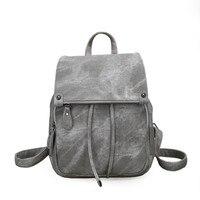 New Brand Women Leather Backpacks School Bag For Teenage Girls Female Fashion Rucksack Mochila Grey Black