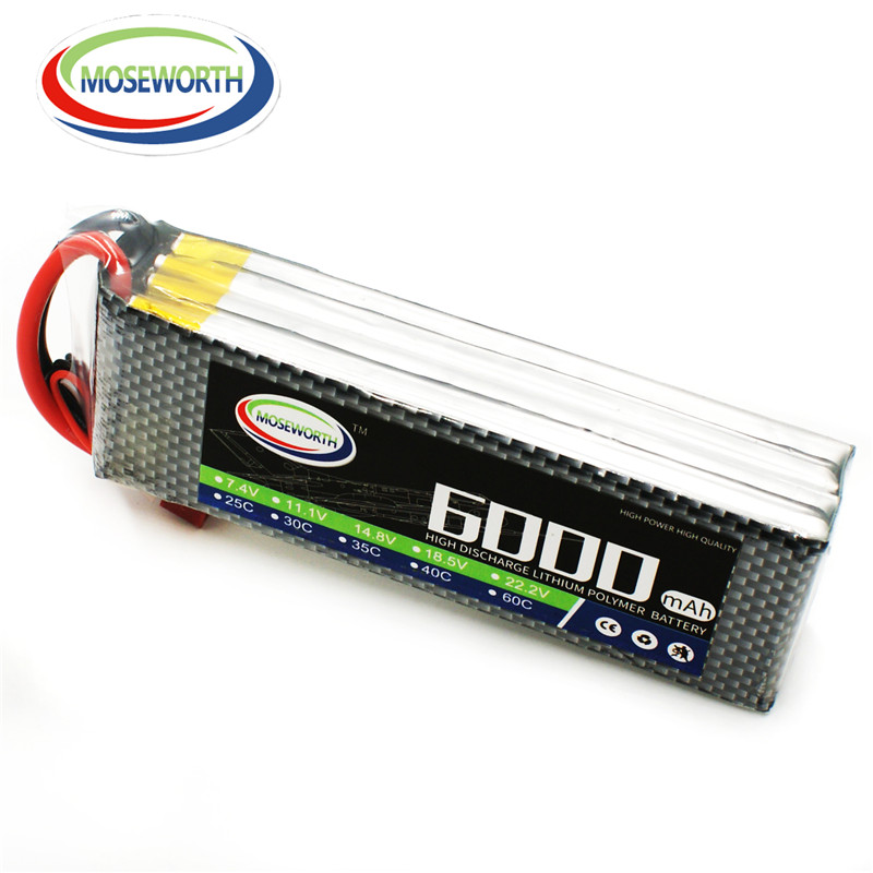 MOSEMOWRTH 4S 14.8V 6000mAh 35C RC Drone lipo battery for rc airplane helicopter car boat 4s Li-ion batteria AKKU free shipping фотоаппарат canon ixus 180 blue