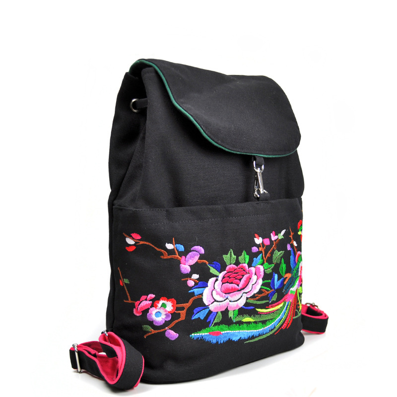 87afabb19dcc ON Sale Chinese Style Ethnic Girl Backpacks Flower Embroidered School Bag  Mochila Cute Rucksack Vintage Laptop Black Backpacks-in Backpacks from  Luggage ...