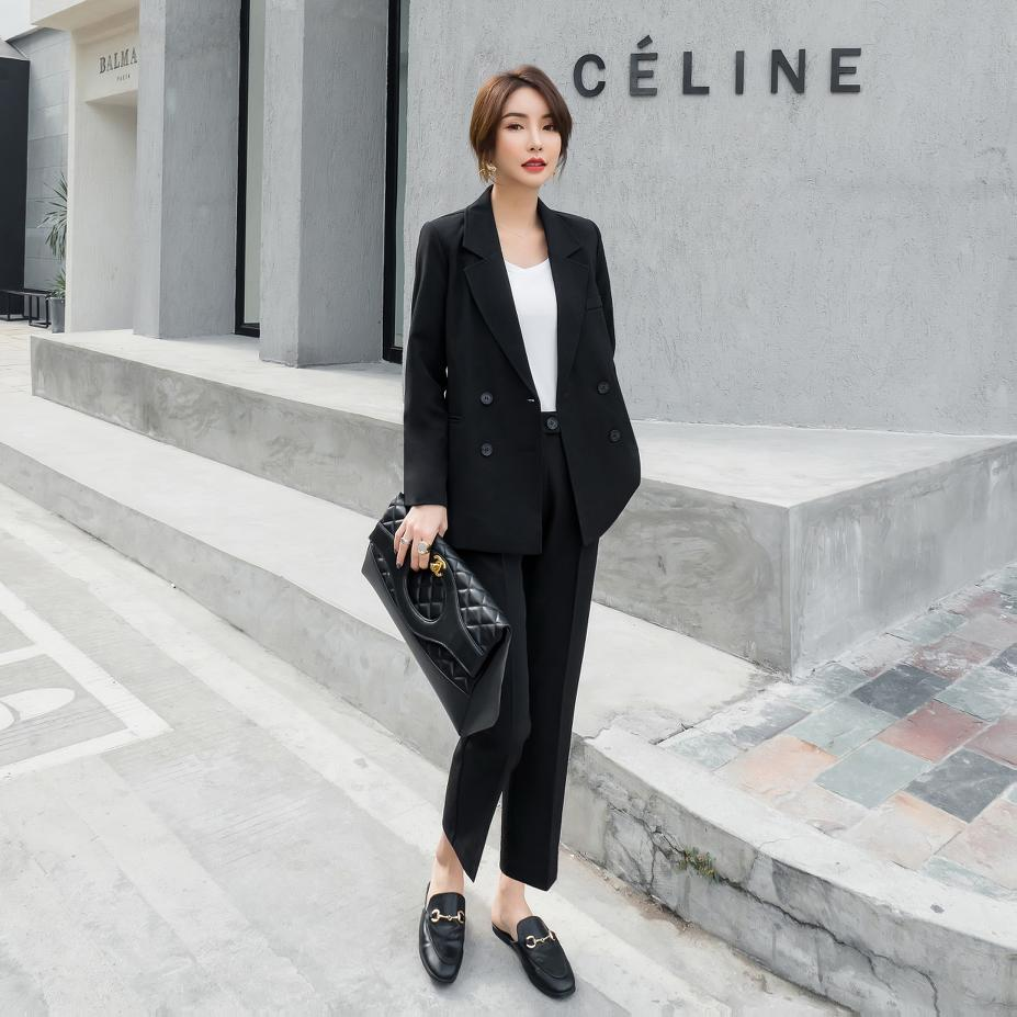 Black Small Suit Double Breasted Women Pant Suits Notched Blazer & High Waist Pencil Pant Solid OL Style Female 2 Pieces Set