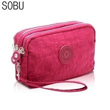 2017 New Coin Purse Women Small Wallet Washer Wrinkle Fabric Phone Purse Three Zippers Portable Make Up bag F005
