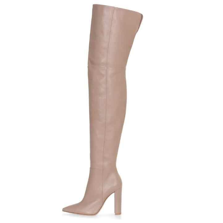 Automne hiver sur les bottes au genou Sexy bout pointu hauts talons épais chaussures à talons aiguilles cuisse haute mince femme bottes grande taille 43