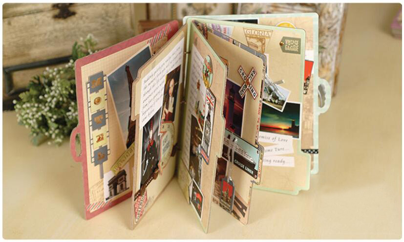 Eno Greeting Vintage Travel Scrapbook Album Kit Retro Flower
