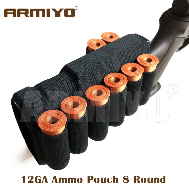 Armiyo 12GA 12 Gauge Tactical 8 Round Bandolier Gun Battle Hunting Ammo Shells Stock Bullet Pouch Black Shooting Accessories