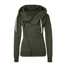 2016 Casual Hooded Hoodie Women Sweatshirt Solid Color Long Sleeve Lady Tracksuits Women Zipper Sweatshirt Jacket Female Coats