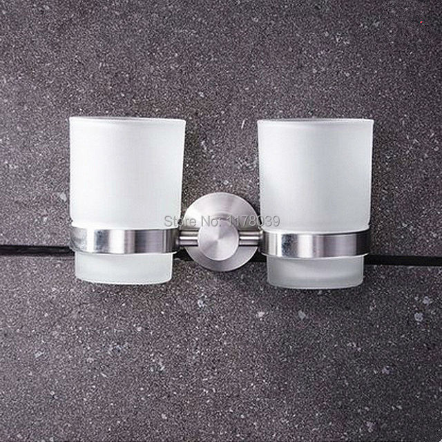 304 Stainless Steel Brushed Bathroom Double Cup Holders Wall Mounted Tumbler Holder Toothbrush