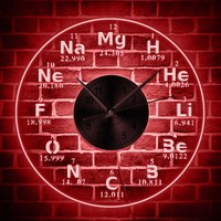 Chemical Elements LED Wall Clock Chemistry Color Changes Backlight Modern Wall Clock Science Biology Periodic Table Clock