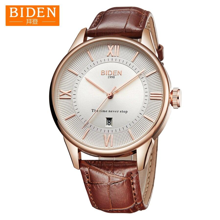 cab6756a3 Comprar Clássico dos homens Top Marca de Relógios de Negócios De BIDEN Data  Pulseira de Couro À Prova D Água Relógio Masculino relógio de Pulso de  Quartzo ...