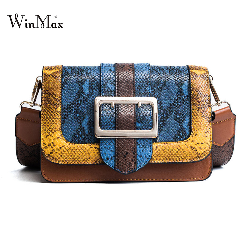 Fashion Women leather Shoulder Bags Serpentine Vintage Patchwork Handbags Day Clutches Female Snake Small Yellow Flap Bags