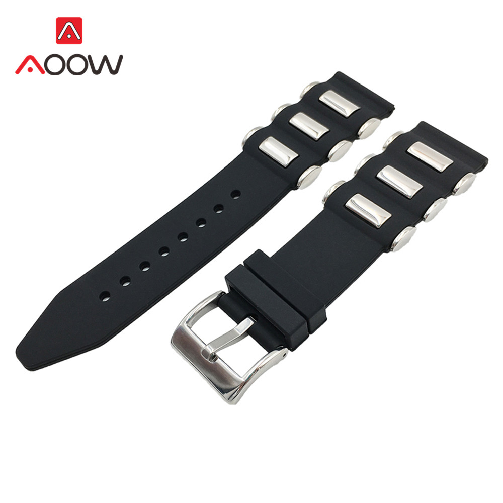 Silicone Watchband 20mm 22mm 24mm 26mm Metal Embedding Waterproof Black Rubber Replacement Bracelet Band Strap Watch Accessories image