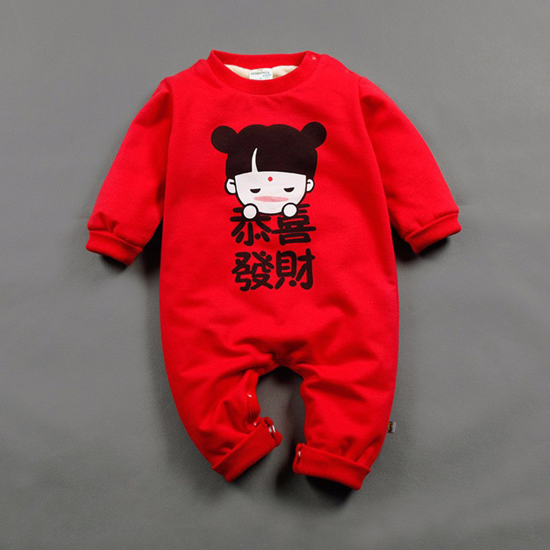 Cotton Baby Boys Girls Clothes Lovely Chinese New Year Costume Traditional Clothing Print Baby Infant Onesie Jumpsuits Rompers