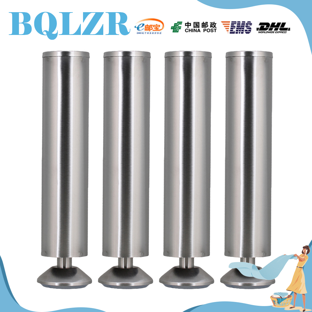 BQLZR 24.8cm Furniture Cabinet Legs Non-adjustable Bed Table Sofa Feet Silver Set of 4 bqlzr 80x85mm round silver black adjustable stainless steel plastic furniture legs sofa bed cupboard cabinet table bench feet
