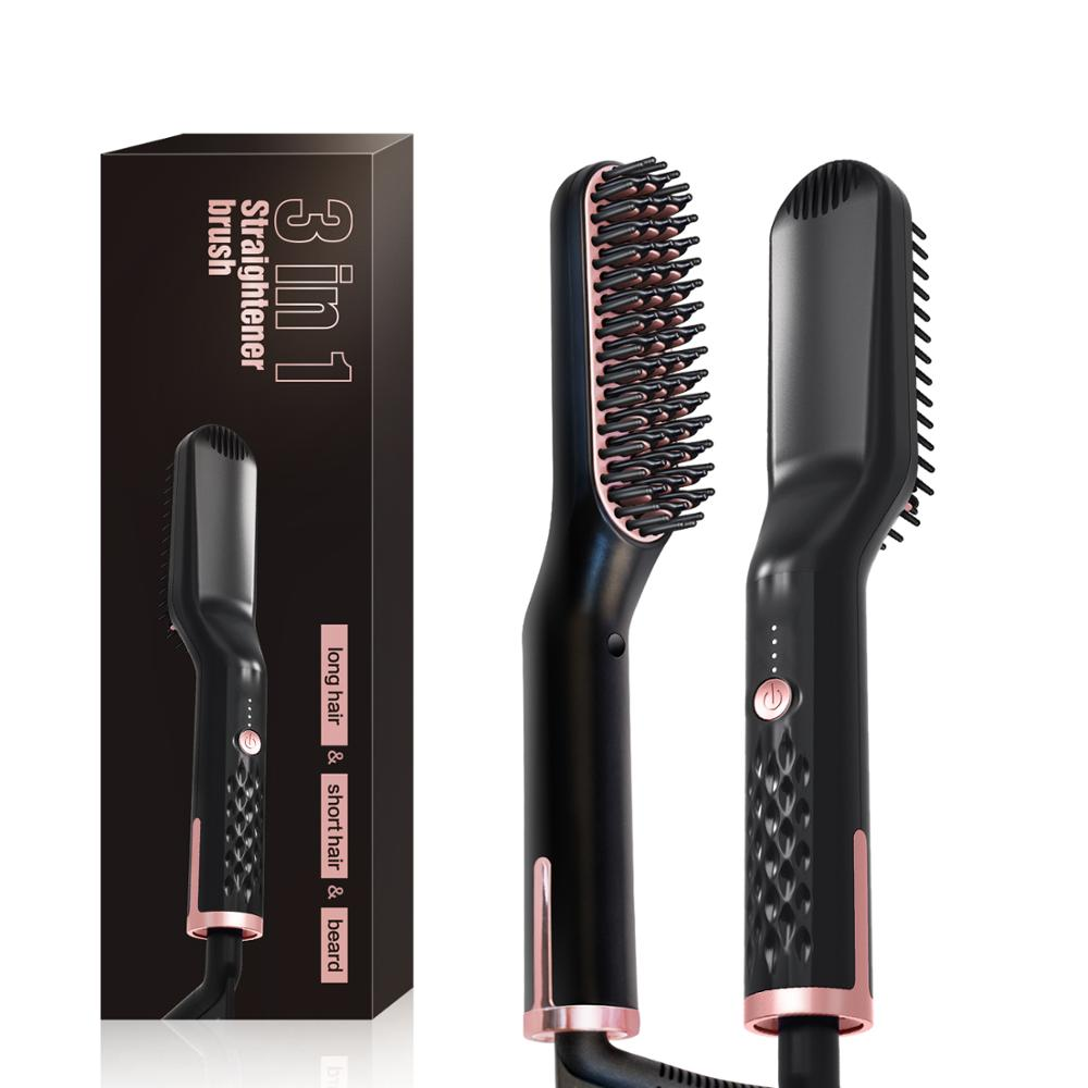 3 In1 Hot Comb Beard Hair Straightener Brush Quick Heater Ionic Electric Straighting Curling Comb Multifunctional Hair Styling