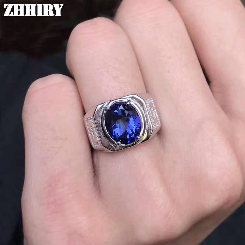 ZHHIRY Men Rings Natural Deep blue Topaz Man Genuine Gemstone Real 925 Sterling Silver Precious Blue Gemstone Fine Jewelry