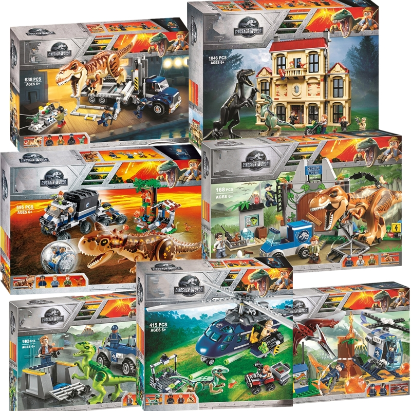 New Jurassic World Dinosaur Set With Legoing 75930 75932 75928 75929 Model Building Blocks Bricks Toy Gift For Children No Box