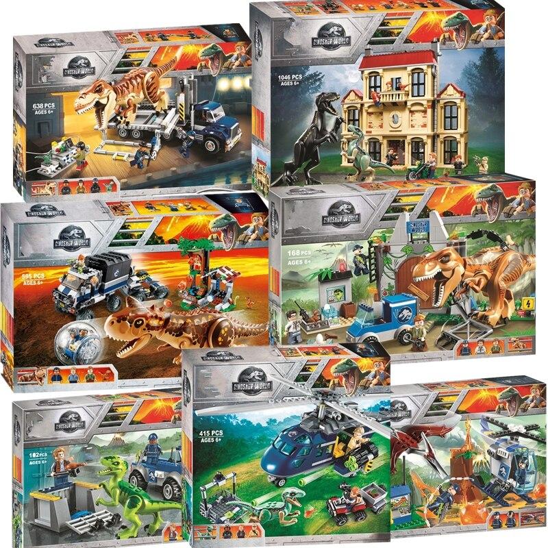 Novo jurássico mundo conjunto dinossauro com 10925 10926 10928 modelo blocos de construção tijolos com legoinglys brinquedo presente para crianças sem caixa