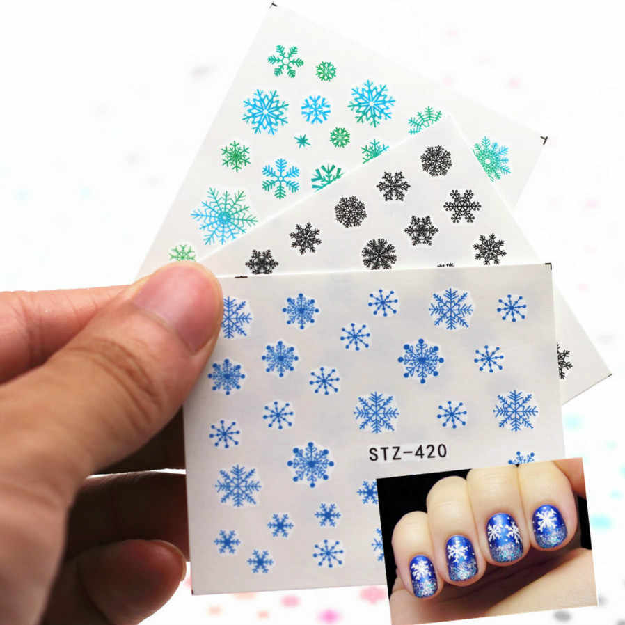 1Sheet Snowflake Smiling Face Cartoon Nail Art Sticker Set Black Lace Glitter Flower Water Decal Slider Wraps Decor Manicure N13
