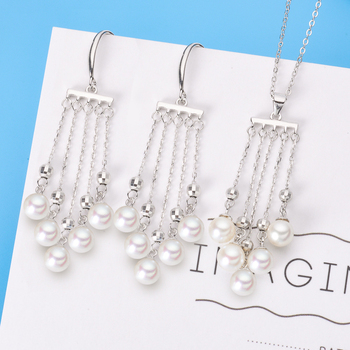 S925 Sterling Silver Pearl Party Pendant Earrings Set Mounts Findings Beautiful Jewelry Set Parts Fittings Women's Accessories