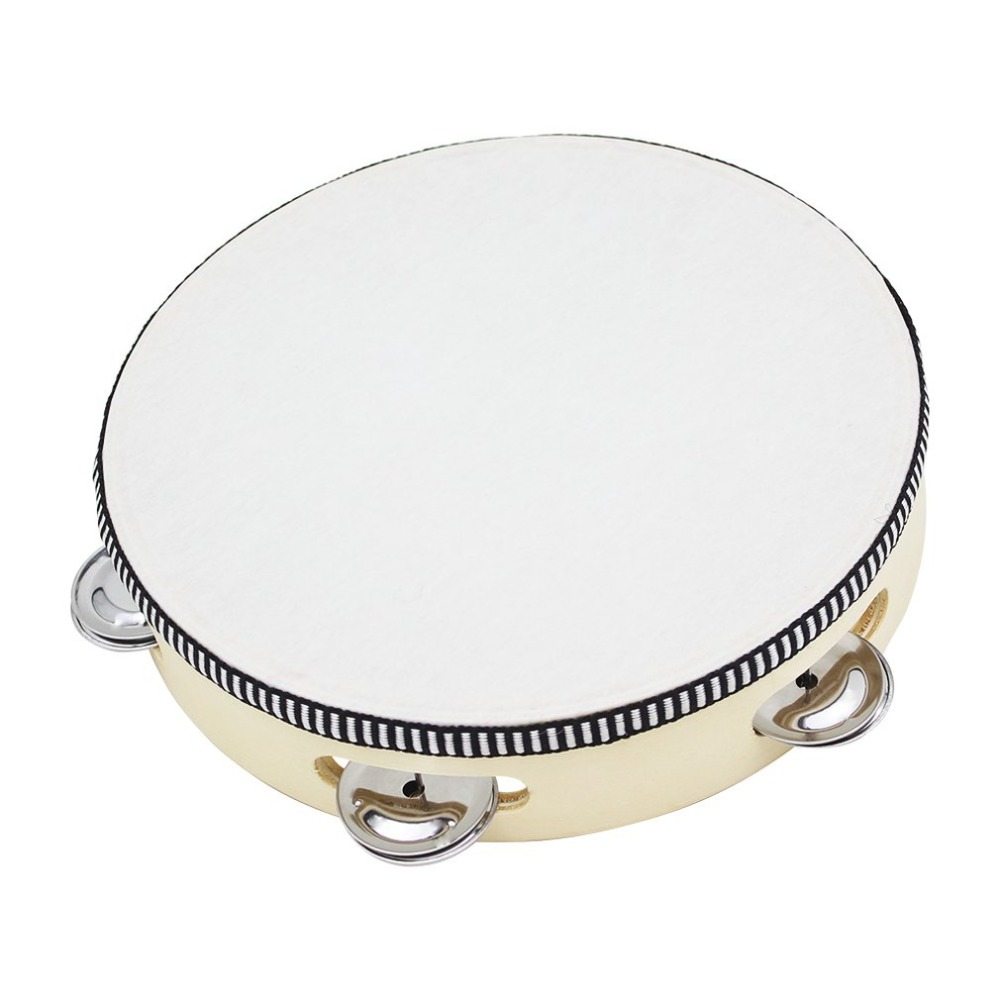 Wood Round Hand Held Tambourine With Bell For Children Educational Musical Percussion Instruments Toy