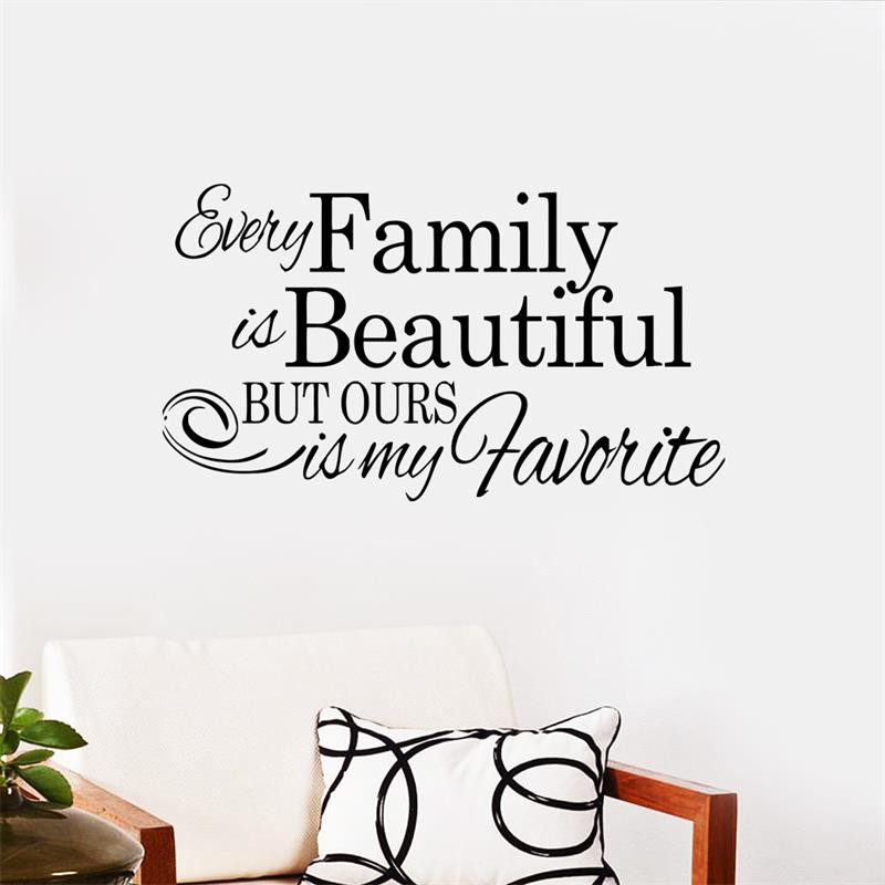 Life Quote Every Family Is Beautiful Vinly Wall Stickers Children S