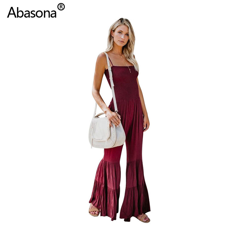 Abasona New Solid Sleeveless Spaghetti Strap Double Flares Full Length Loose Jumpsuit Fashion Sexy Party Club Playsuit for Sale(China)