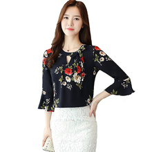 Women's Shirt Summer New Fashion Chiffon Blouse Round Neck Trumpet Sleeve Bow Shirt Blouses for Women tiered trumpet sleeve pearl embellished blouse