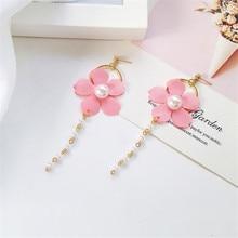 Fashionable flower earrings literary female eardrop delicate petals Temperament joker character The cherry blossom