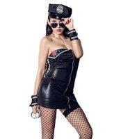 New Wild Erotic Lingerie Passion Uniform Temptation Hot Hand Police Flower Policewoman Patent Leather Female Suit