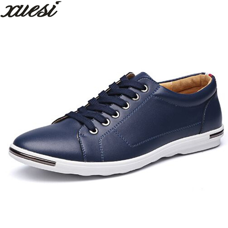 XUESI Hot Sale Men Flats Shoes Fashion New Brand Casual Male Plus Size Comfortable Men Shoes Black Mens Dress Leather Shoes38-48 2015 new hot sale fashion luxury high quality men s brand jeans trousers classic casual scratch denim jeans plus size 28 46