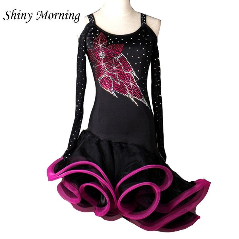 custom customize rhinestone flower latin Rumba cha cha salsa tango one-piece dance dress competition wear S-XXXL