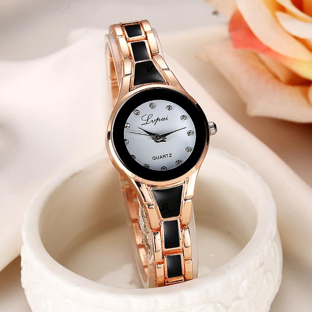 New Fashion Luxury Golden Silver Gemstone Quartz Watch