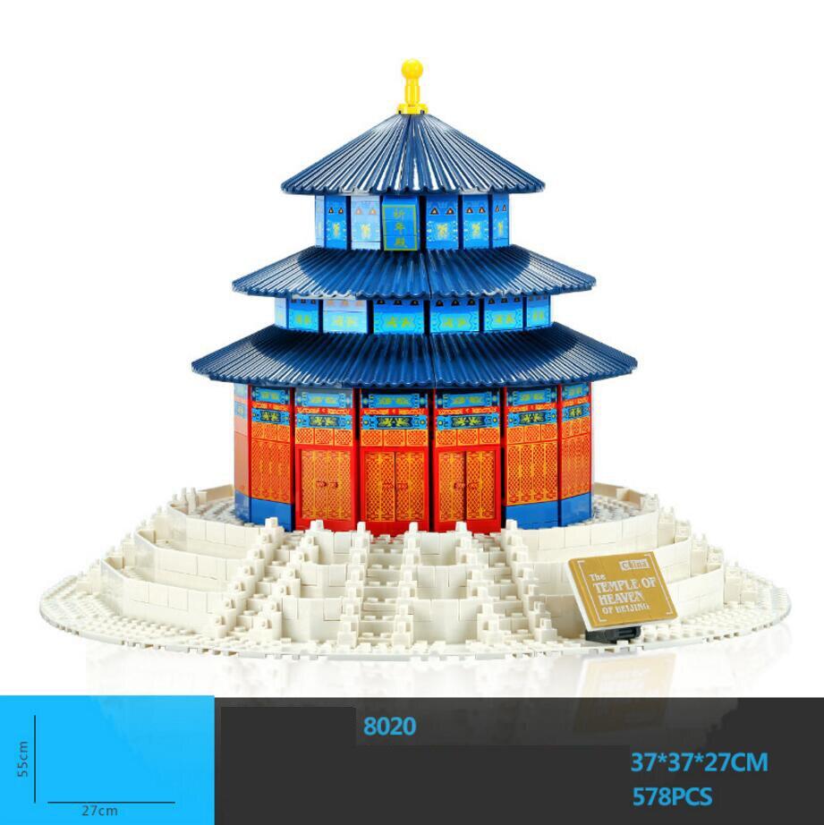 Caldo world famous Architettura perking il tempio del cielo di pechino cina building block modello di mattoni di istruzione toyscollection