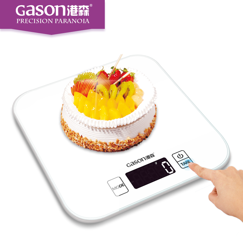 GASON C1 BK Kitchen Scales LCD Display Accurate Digital Toughened Glass Electronic Cooking Food Weighing Precision (15kgx1g)
