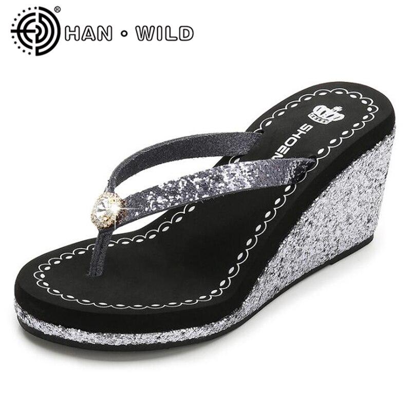 Rhinestone Sandals Women Summer Flip Flops Sandals High Heel Wedges Shoes