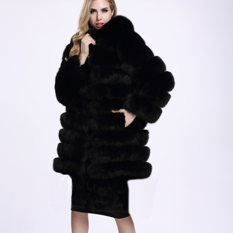 61d5e1850fd UPPIN Women s Faux Fur Coat Hooded Long Sleeve Winter Fashion Thick Warm  Natural Fur Jacket Outerwear Overcoat Female Fur Coats-in Faux Fur from  Women s ...