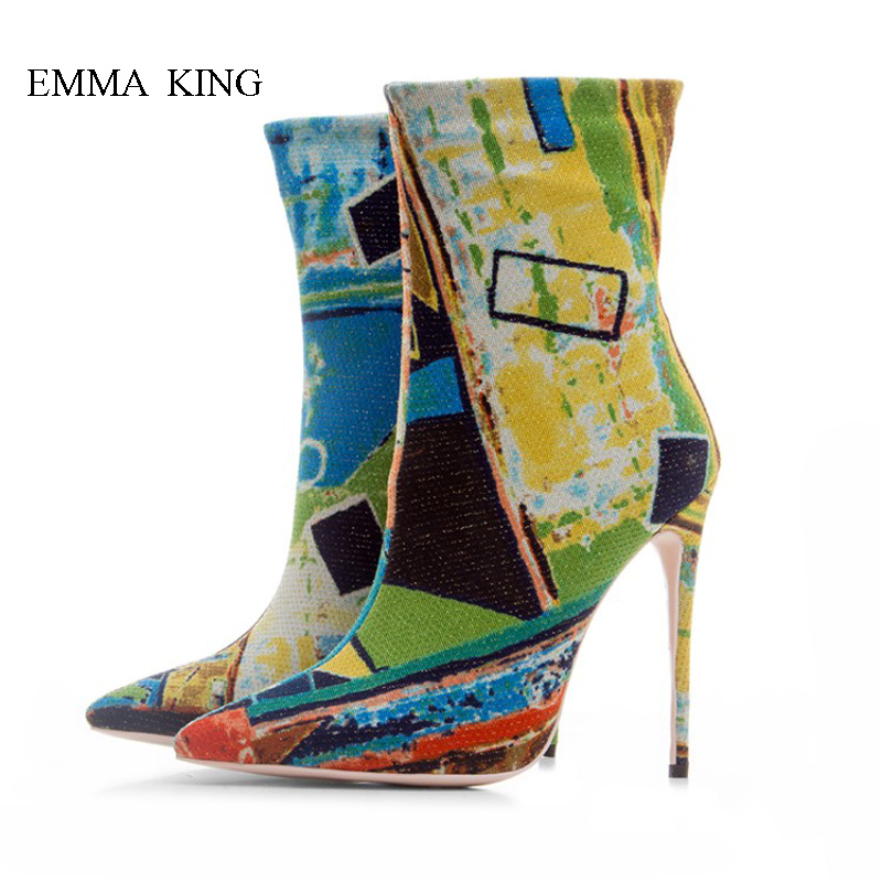 Your Unique Style-Tide Colorful Graffiti Ankle Boots for Women Fashion Pointed Toe Stilettos Side Zipper High Heels Ladies ShoesYour Unique Style-Tide Colorful Graffiti Ankle Boots for Women Fashion Pointed Toe Stilettos Side Zipper High Heels Ladies Shoes
