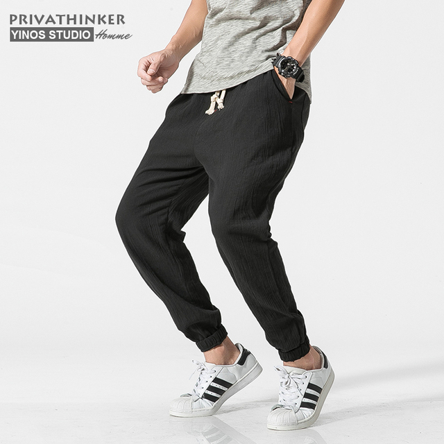 Privathinker Cotton Linen Casual Harem Pants Men Joggers Man Summer Trousers Male Chinese Style Baggy Pants 2020 Harajuku Clothe 3
