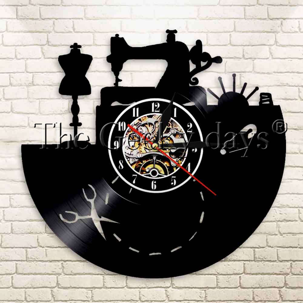 1Piece Vintage Sewing Machine Tailor Tools Vinyl Record Wall Clock Seamstress Shop Clothes Dummy Mannequin Decorative Wall Clock