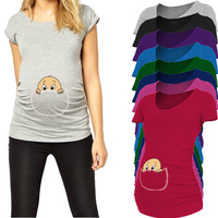2015 New Design Peeking A Boo Short Sleeve Maternity Shirt Printed Maternity Plus Size XXL Free
