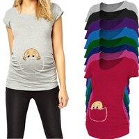 2015 New Design Peeking A Boo Short Sleeve Maternity Shirt Printed Maternity Plus Size XXL Free