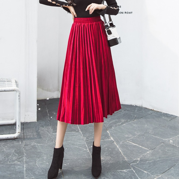897f564fbb Detail Feedback Questions about New 2018 Female High Waist Velvet Skirt  Autumn Winter Skinny Large Swing Long Pleated Skirts Metallic Plus Size  Midi jupe ...
