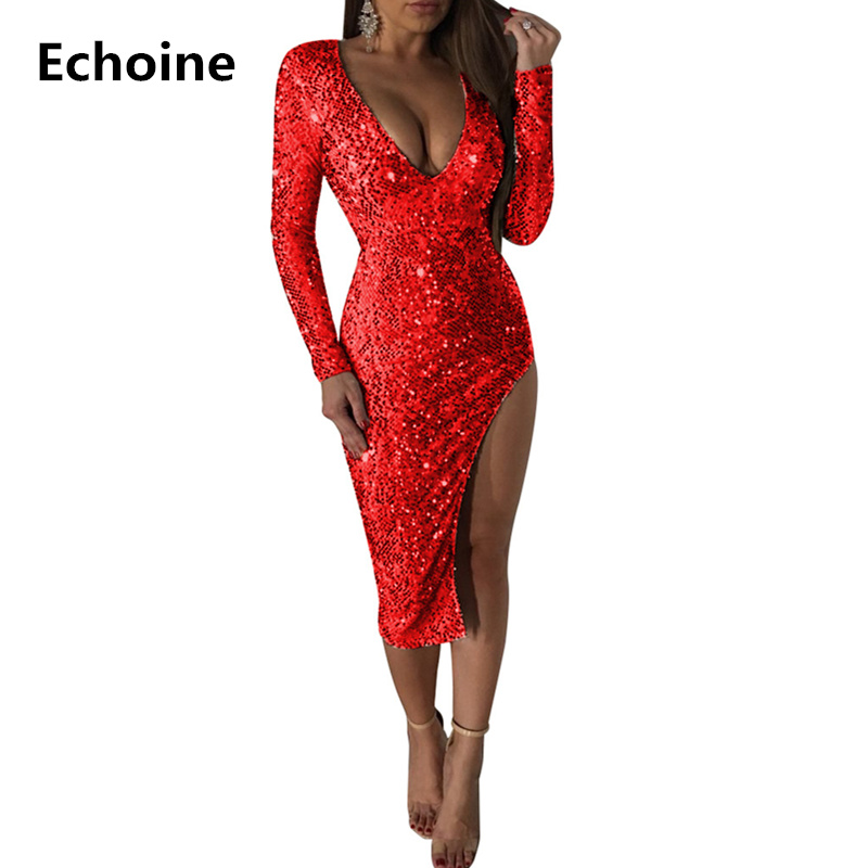 Women Sequin V-neck Slim Bodycon Dress Sexy Elegant Split Party Dresses Women Club Outfit Christmas Dress Vestido Robe Femme