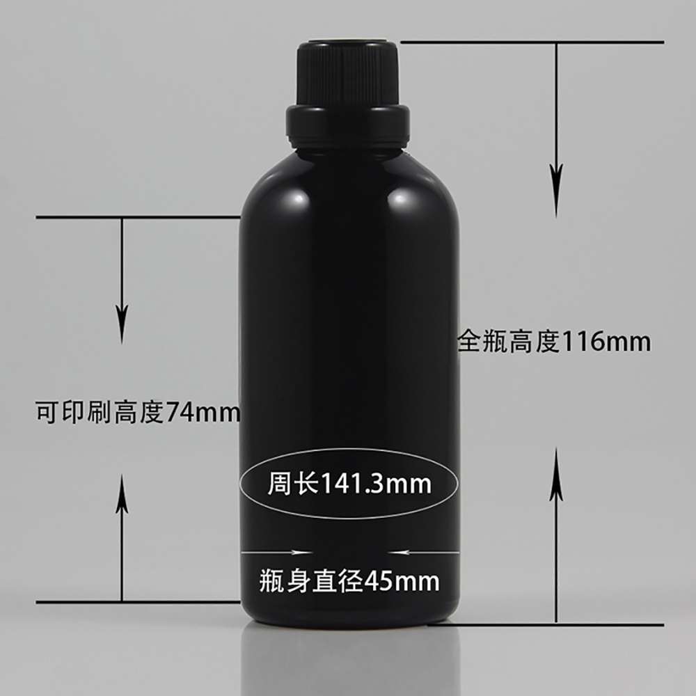 atacado 50 pcs brilhante 100 ml preto frasco conta gotas de vidro com tampa de plastico