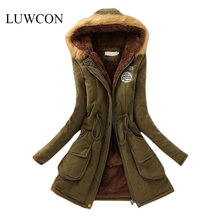 LUWCON Winter Jacket Women 2016 New Winter Womens Parka Casual Outwear Military Hooded Coat Long Femme Woman Clothes A1617