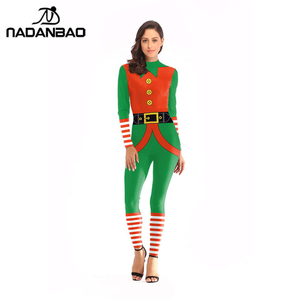 NADANBAO Christmas Elf Carnaval Costume Striped Fastener Costumes For Women Plus Size Bodysuit