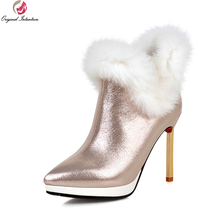 Original Intention Super Elegant Women Boots Stylish Pointed Toe Metal Stiletto Heels Boots Fashion Shoes Woman