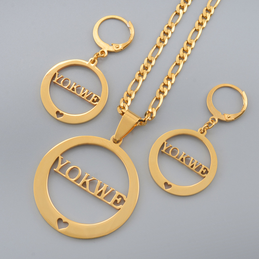 Marshall YOKWE Pendant Necklaces Earrings sets for Women Gold Color Jewelry Gifts (CANNOT CUSTOMIZE) #J0250